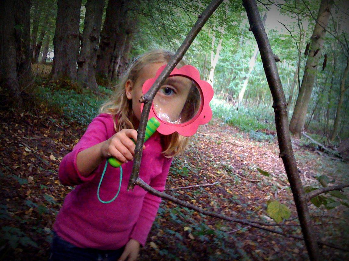 Curious Girl w Magnifying Glass